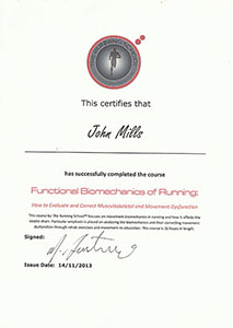 John Mills running school certificate
