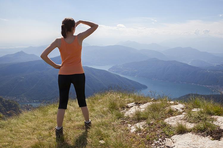 walker on mountain top
